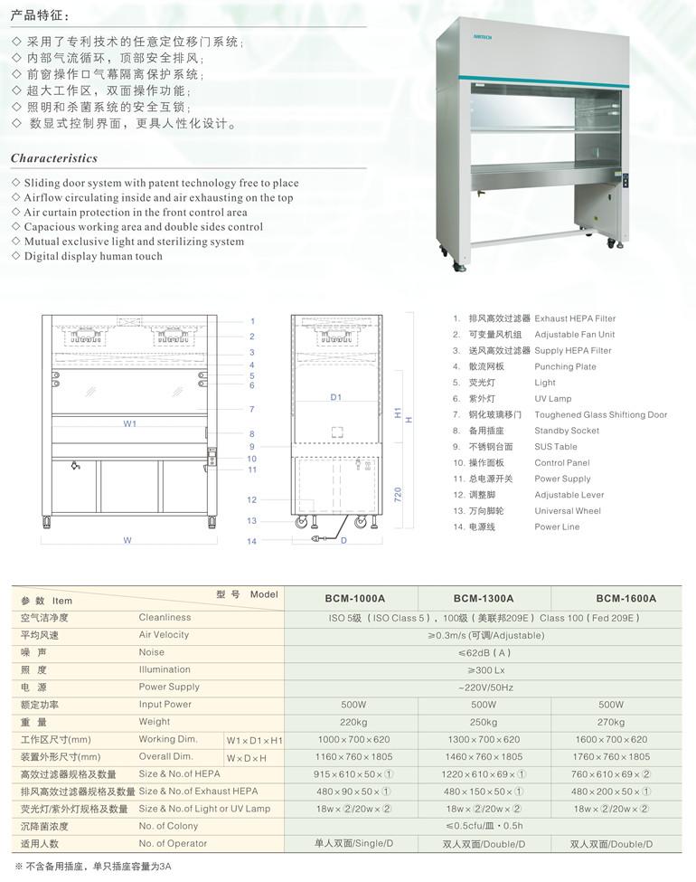 BCM-1000A/1300A/1600A生物洁净型标准洁净工作台