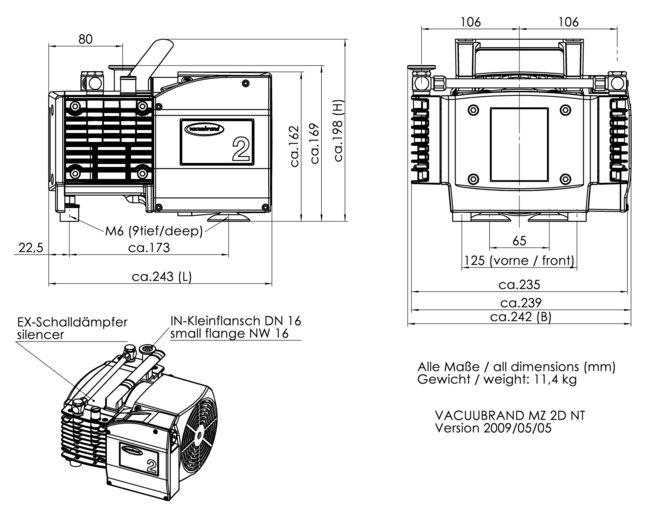 MZ 2D NT - 尺寸规格表